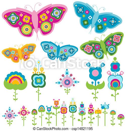 vlinder, bloemen - csp14821195