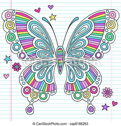 vlinder, doodles, psychedelic - csp8186263
