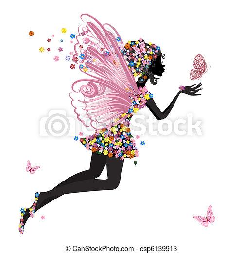 vlinder, elfje, bloem - csp6139913