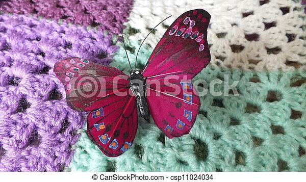 vlinder, haken. vlinder, lapwerk, deken, veer, haken.