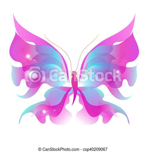 vlinder, kleur, vrijstaand, witte  - csp40209067