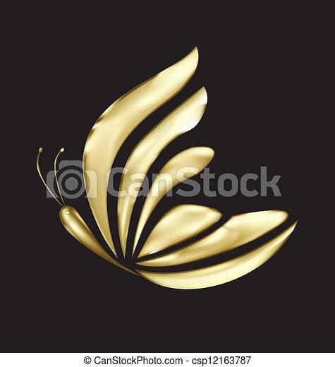 vlinder, logo, vector, luxe, goud - csp12163787
