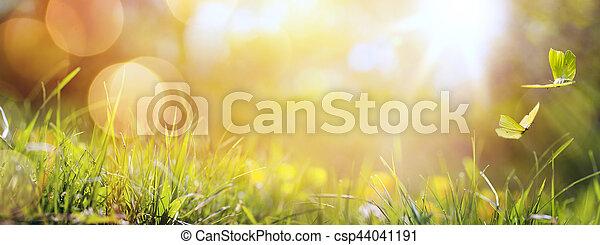 vlinder, zomer, kunst, lente, abstract, achtergrond, fris, gras, of - csp44041191