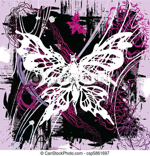vlinders, vektor, backgroung - csp5861697