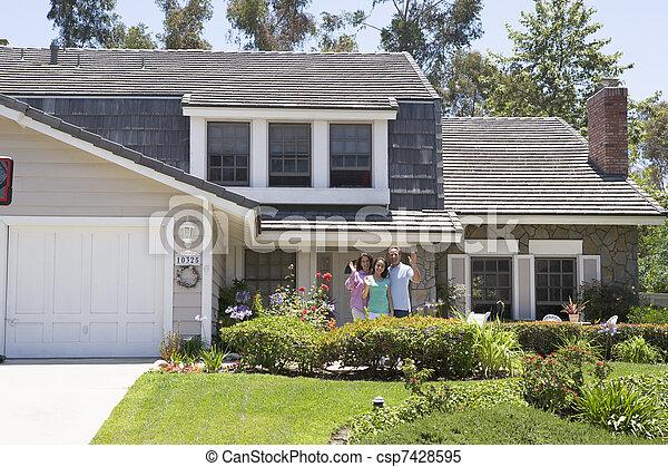 vlnitost, ubytovat se, mimo, rodina - csp7428595