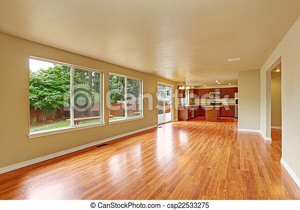 Vloer loofhout woning interieur nieuw lege woonkamer gebied