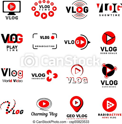Vlog video channel logo icons set, simple style