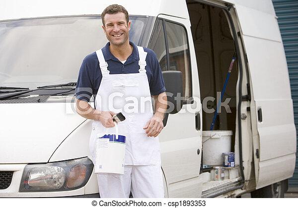 vmilyen nagyságú mosolyog, furgon, szobafestő - csp1893353