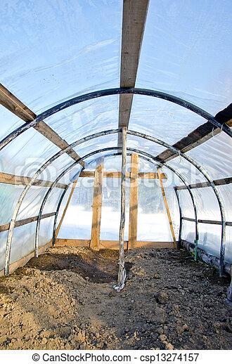 Voute Fait Maison Vide Plastique Hiver Serre Hiver Vue Voute Fait Maison Vide Plastique Interieur Serre Canstock