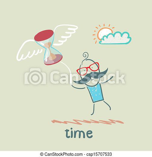 voando, homem, ampulheta - csp15707533