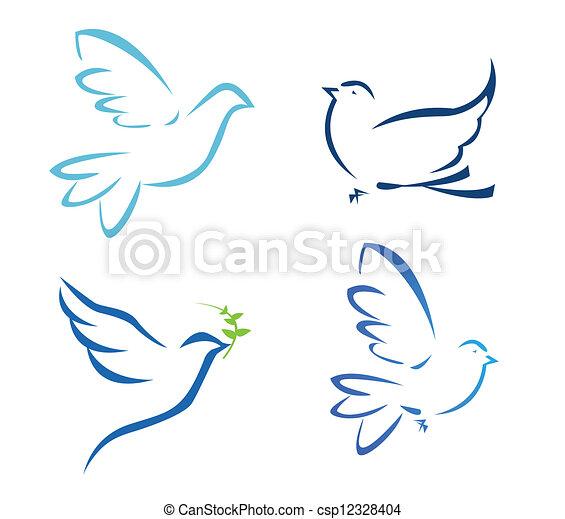 voando, vetorial, pomba, ilustração - csp12328404