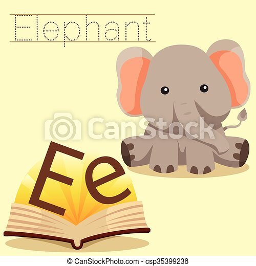 vocab, e, illustrator, elefant - csp35399238