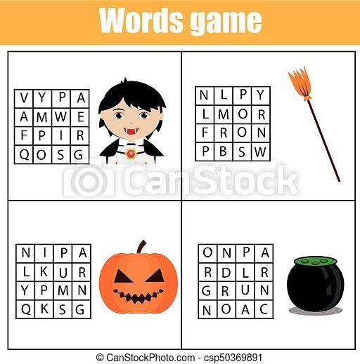 Vocabulary., durchsuchung, kinder, wort, game., puzzel,... EPS ...