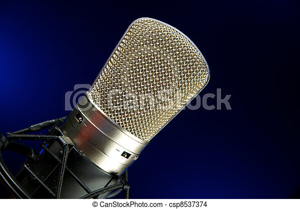 Vocal Mic on Stand Music Recording & performance concept. - csp8537374