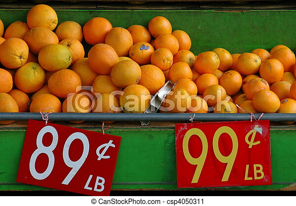 voedingsmiddelen, beeld, verkoop, sinaasappel, stalletje, markt - csp4050311