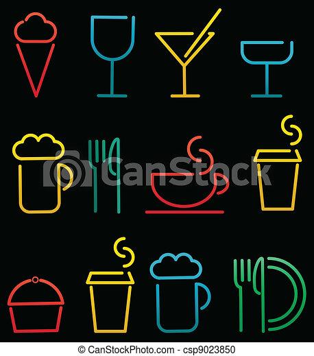 voedingsmiddelen, drank, set, kleurrijke - csp9023850