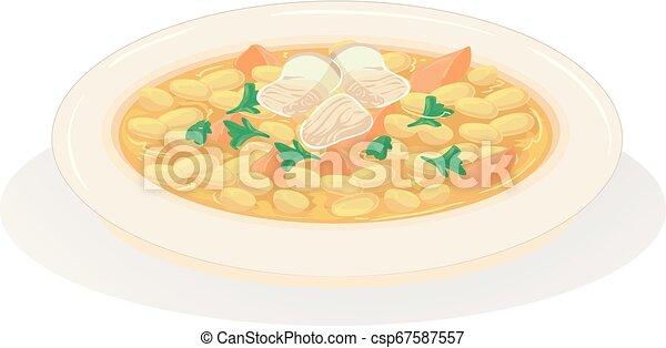 voedingsmiddelen, groentes, illustratie, amerikaan, bonen, bakt - csp67587557