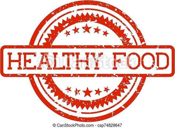 voedingsmiddelen, rubberstempel, gezonde  - csp74829647