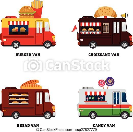 voedingsmiddelen, van., straat, illustratie, vrijstaand, vector, ontwerp, fastfood, plat, delivery. - csp27827779