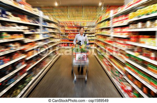 voedingsmiddelen, vrouw winkelen, supermarkt - csp1589549