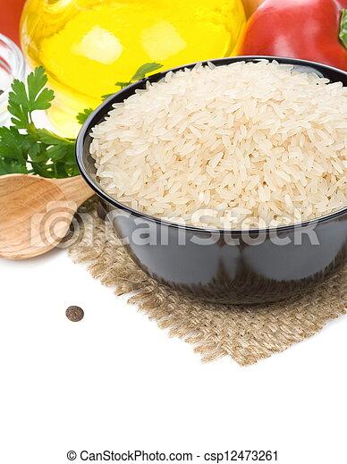 voedingsmiddelen, witte rijst, vrijstaand, bestanddeel - csp12473261