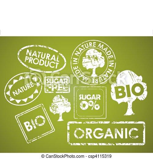 voedsel stempelt, set, organisch - csp4115319