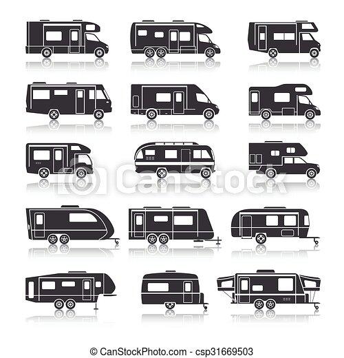 voertuig, recreatief, black , iconen - csp31669503