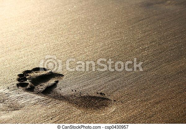 voetafdruk, zand - csp0430957