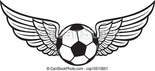 voetbal, embleem, vleugels, bal - csp15510651