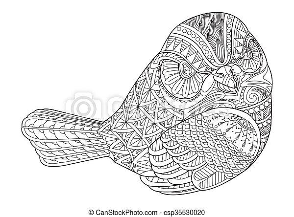 Vogel, färbung, seite, zeichnung. Seite, färbung,... Vektor ...