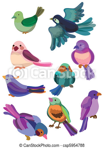 vogel, karikatur, ikone - csp5954788