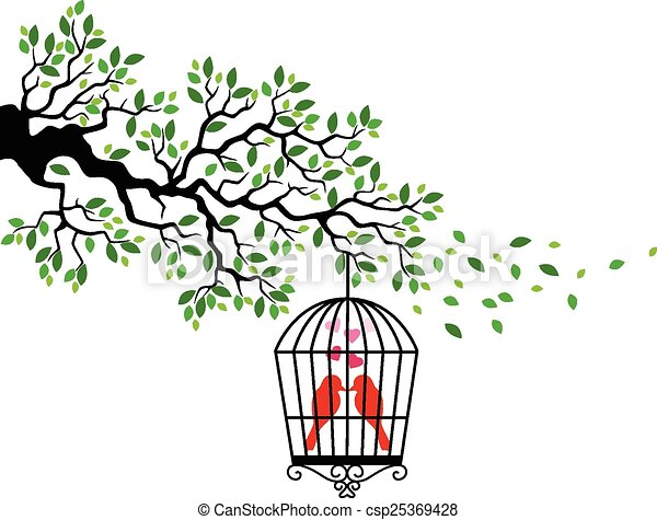 vogel, karikatur, silhouette, baum - csp25369428