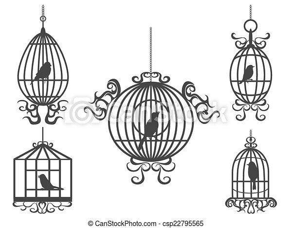 vogelkäfig, vektor, vögel - csp22795565