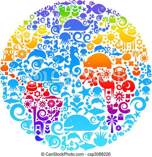 vogels, gemaakt, dieren, schets, iconen, globe, bloemen - csp3088226