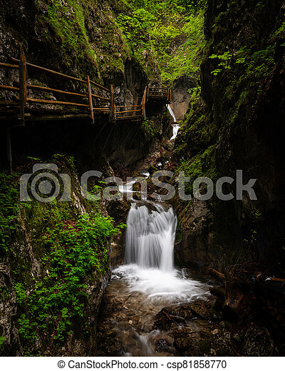 Vogelsang Gorge in Upper Austria on a cloudy day in summer - csp81858770