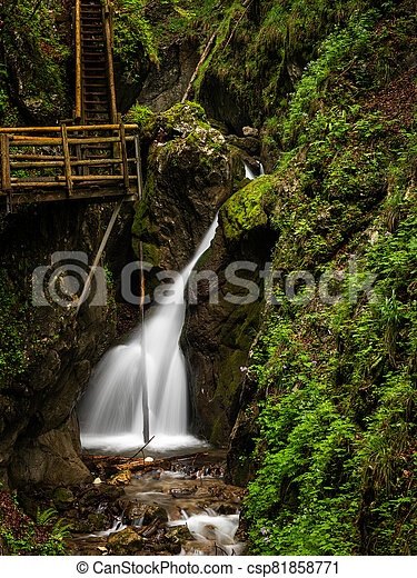 Vogelsang Gorge in Upper Austria on a cloudy day in summer - csp81858771