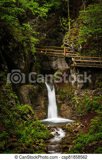 Vogelsang Gorge in Upper Austria on a cloudy day in summer - csp81858562