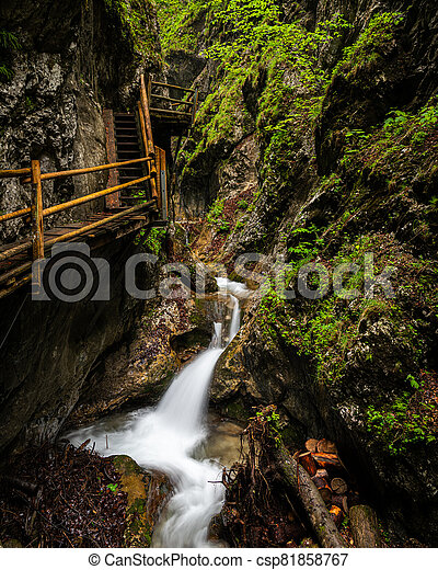 Vogelsang Gorge in Upper Austria on a cloudy day in summer - csp81858767