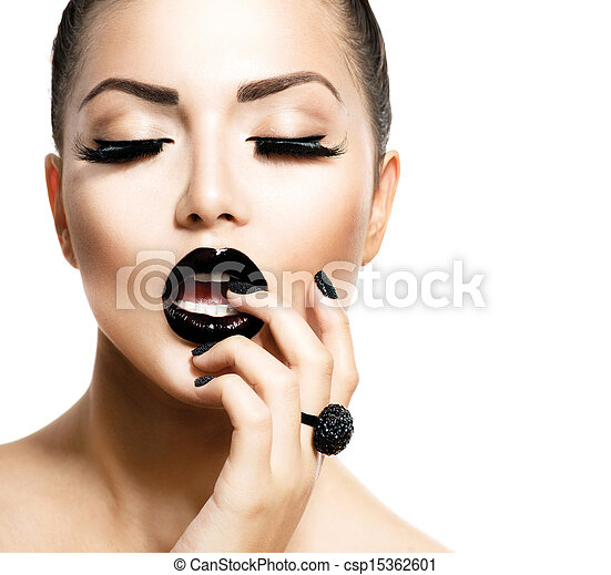 Vogue Style Fashion Girl with Trendy Caviar Black Manicure - csp15362601