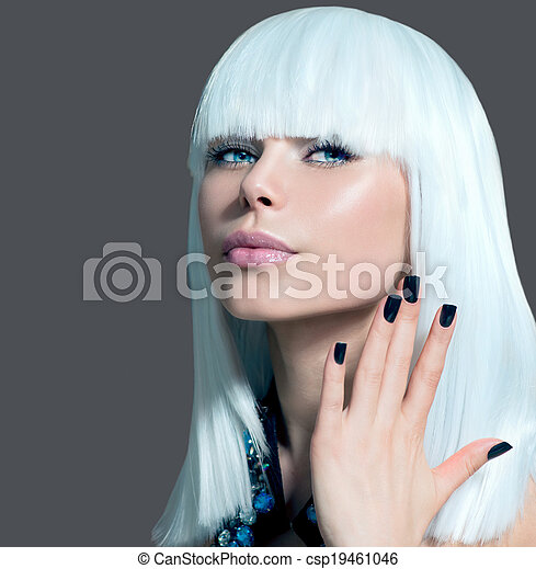 Vogue Style Model Portrait. Girl with White Hair and Black Nails - csp19461046