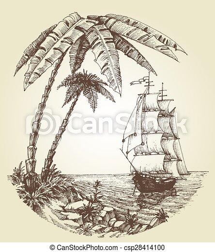 voile, île, destination, exotique, mer, bateau - csp28414100