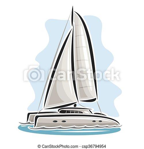 Voile Vecteur Logo Catamaran Bateau Bleu Vecteur Extreme Mer Catamaran Course Voile Nautisme Logo Dessin Anime Canstock