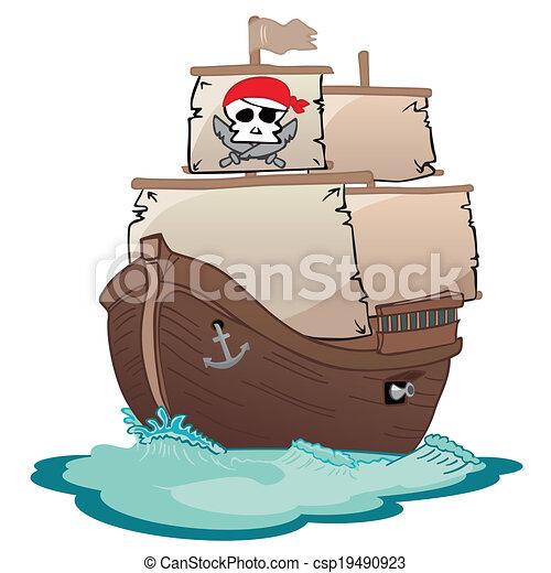 Voilier corsaire bateau pirate voile vagues - Voile bateau pirate ...