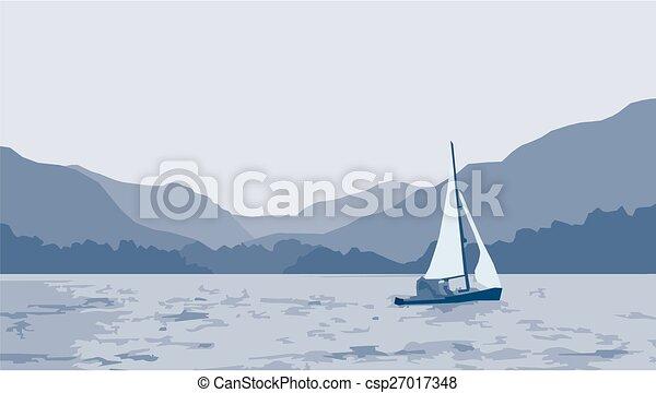voilier, lac, scène - csp27017348