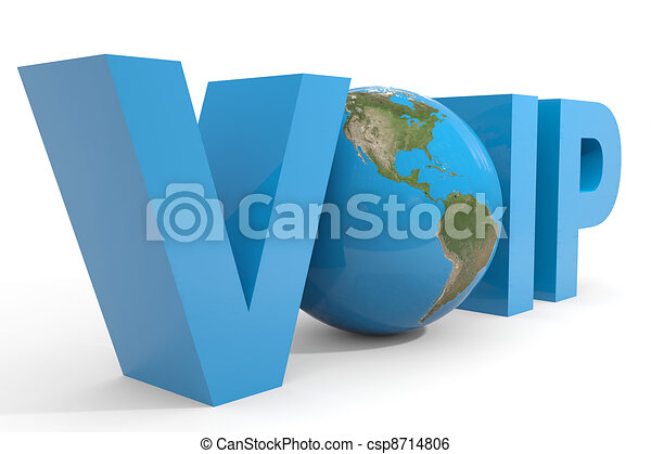 VOIP 3d text. Earth globe replacing O letter. - csp8714806