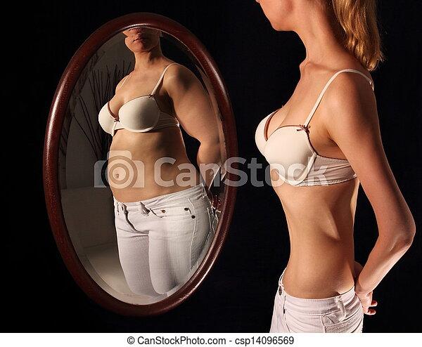 voir, femme, graisse, mirrow, maigre, elle-même - csp14096569