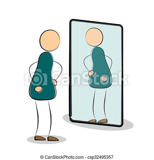 Voir sien reflet homme miroir propre silhouette for Regarde toi dans un miroir
