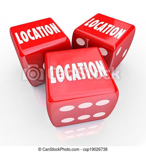 voisinage, dés, secteur, trois, endroit, mieux, mots, pari, emplacement - csp19026738