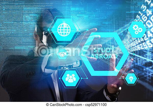 voit, réseau, fonctionnement, inscription:, concept., jeune, virtuel, business, homme affaires, internet, étude, technologie, réalité, à l'étranger, lunettes - csp52971100