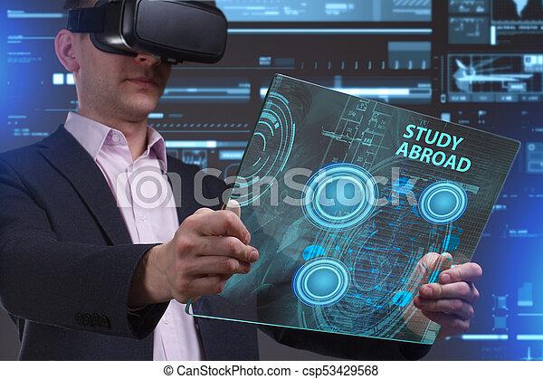 voit, réseau, fonctionnement, inscription:, concept., jeune, virtuel, business, homme affaires, internet, étude, technologie, réalité, à l'étranger, lunettes - csp53429568